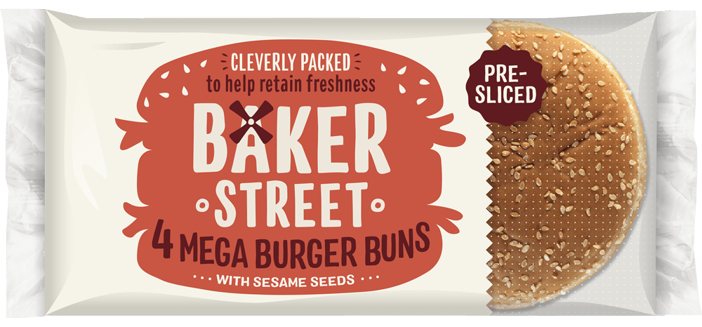 4 Baker Street Mega Burger Buns With Sesame Seeds