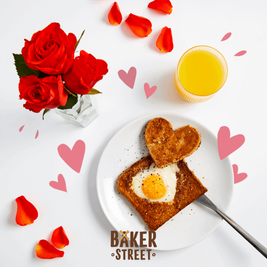 Heart shaped egg and toast serving idea