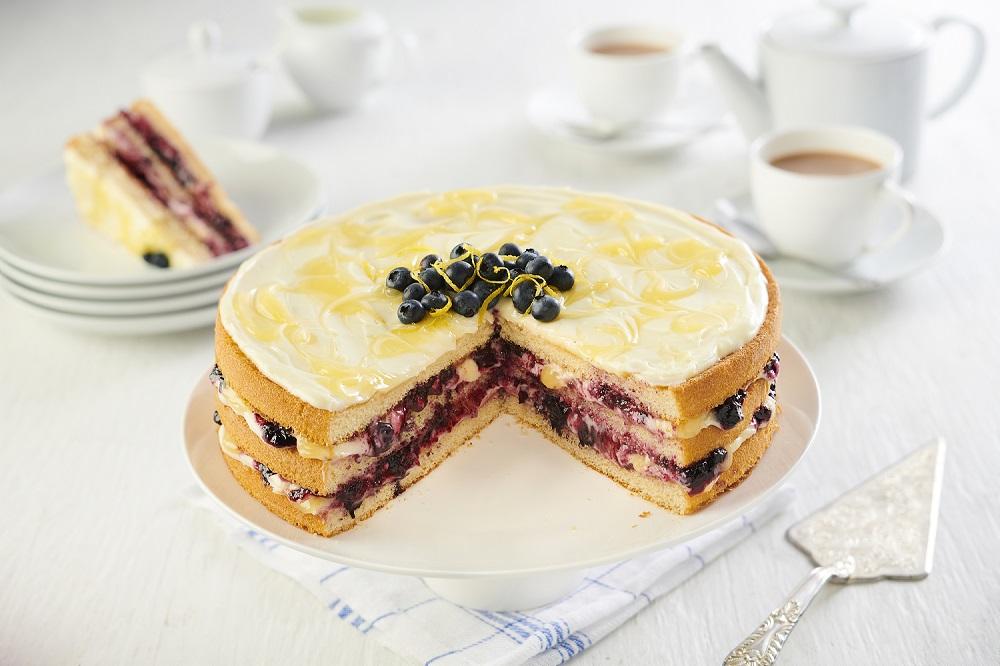 Baker Street 3 Sponge Cake Layers Lemon and Blueberry Slice
